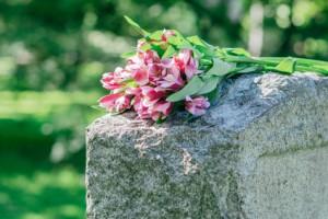 Rosa Blumen auf einem hellen Grabstein Tod der Eltern und Trauer